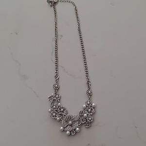 Silver necklace with faux pearls